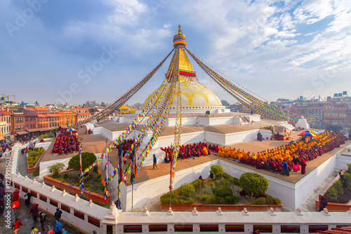 Beautiful of boudhanath stupa in morning time at Kathmandu, Nepal Poster
