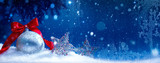 art blue snow christmas background - 123994337
