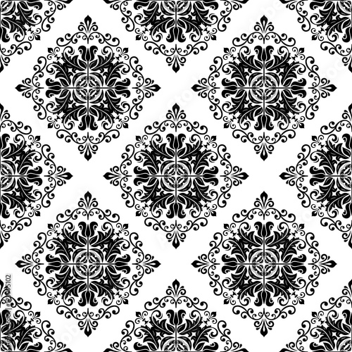 Damask vector classic black and white pattern. Seamless abstract background with repeating elements - 123995102