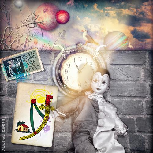 Staande foto Imagination Maschera di Pierrot in un paesaggio fiabesco con orologio,asso di spade e francobollo