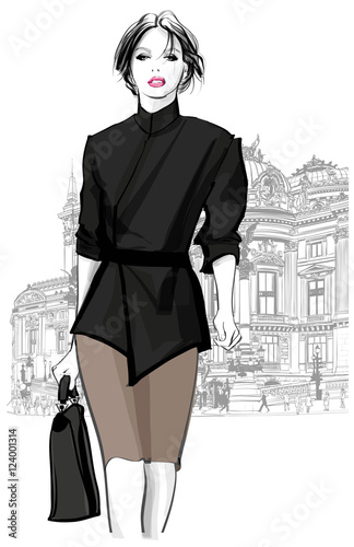 Tuinposter Art Studio Business woman walking in front of Opera, Paris