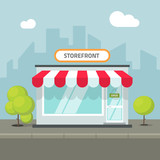 Storefront in the city vector illustration, store building on town street, flat cartoon shop facade front view - 124005320