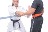 Martial arts self defense / Young athlete exercising with a partner, in self-defense.