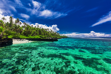 Beach with coral reef on south side of Upolu, Samoa