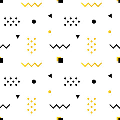 Geometric shapes modern, trendy minimalistic seamless pattern background in white, black and golden colors.