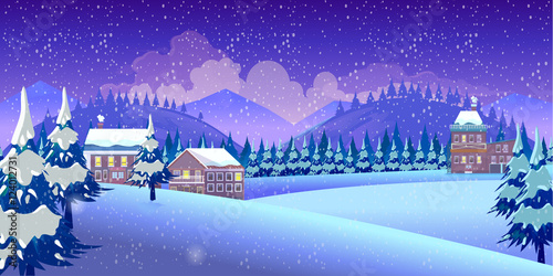 Poster Violet Winter Nature landscape
