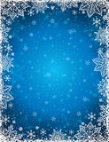 Blue background with  frame of snowflakes and stars,  vector ill