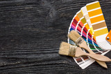 Brushes on a color swatches book