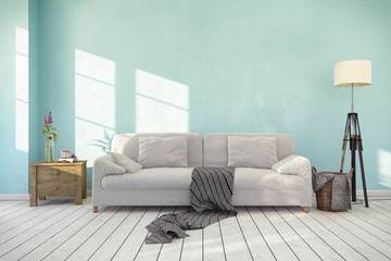 Skandinavisches, nordisches Wohnzimmer - Sofa - Couch - Textfreiraum - Platzhalter