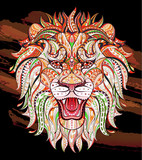 Patterned head of the roaring lion on the grunge background. African / indian / totem / tattoo design. It may be used for design of a t-shirt, bag, postcard, a poster and so on.