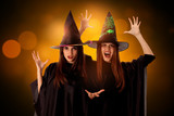 beauty cheerful girls in halloween style