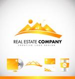 Real estate yellow house logo icon design