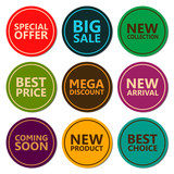 Sale discount sticker set. Commercial collection of varicolored offer labels. Different commercial inscriptions in round badges. For different holidays sale. Vector isolated illustration.