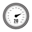 Постер, плакат: Speedometer vector illustration Styling by tire tracks
