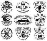 Vector California surfing badges in black and white for t shirt print or embroidery - 124027331
