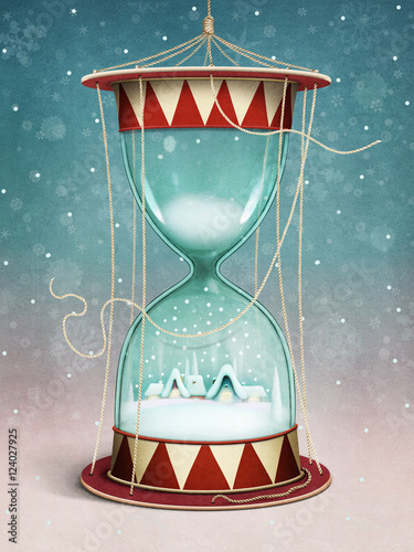 Holiday greeting card or poster Christmas or New Year's Eve and Hourglass village landscape and snow inside - 124027925