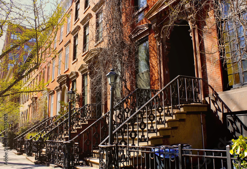 Beautiful buildings in Greenwich Village, Soho district Poster