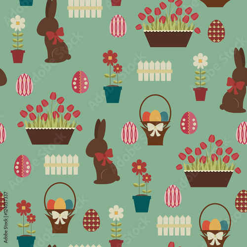 Materiał do szycia Easter seamless pattern. Chocolate bunny and decorated eggs in a