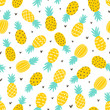 Pineapple and hearts seamless pattern - 124038932