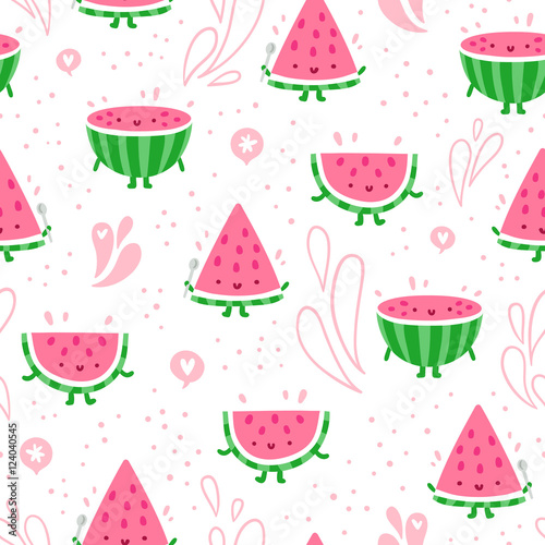 Cotton fabric Watermelon fun seamless pattern