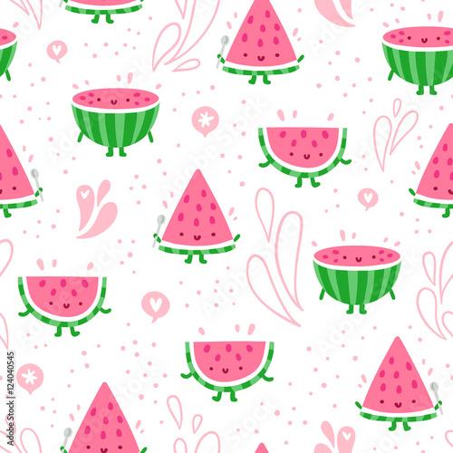 Cotton fabric Watermelon fun seamless pattern
