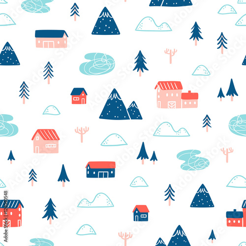 Cotton fabric Winter town landscape pattern