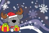 cute baby mouse santa reindeer hat cartoon background in vector format