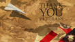 Thank You Veterans. Paper Airplane and Boat Usa Flag MImetic Clouds and America Nautical Chart.