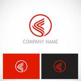 round abstract line company logo