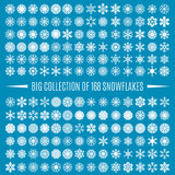Fototapety Big collection snowflakes, vector illustration.
