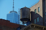 New York City urban water towers and rooftops