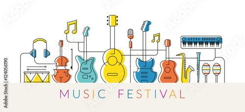 Fototapeta Music Instruments Objects Background, Line Design, Festival, Event, Live, Concert