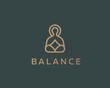 Meditation yoga linear logo design. Zen balance vector logotype. Creative harmony relax symbol.