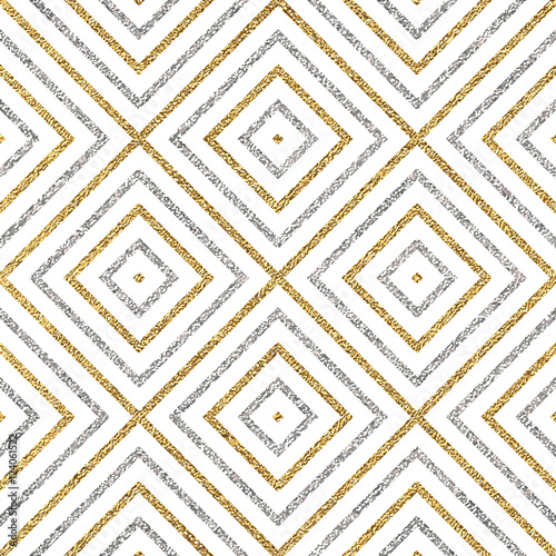 Geometric seamless pattern of gold silver diagonal lines or strokes, abstract seamless background of golden silvery rhombus, square, vector for paper, card, invitation, wrapping, textile, web design - 124061522