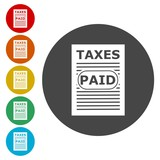 Tax paid on white, vector illustration