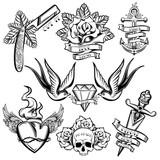 Fototapety Tattoo Monochrome Elements Set