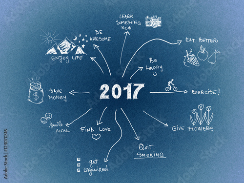 Poster 2017 New Year Resolution, goals written on blue cardboard with hand drawn sketch