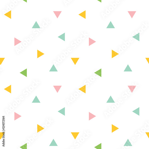 Cute colorful geometric, triangle seamless pattern background.