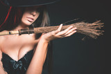 Beautiful woman like witch. Fashion. Halloween costumes