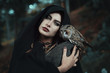 Dark witch of the forest with her owl