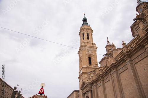 floral offering to the Virgin of the Pillar in Zaragoza Spain
