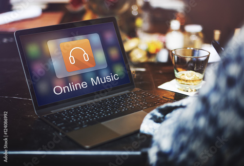 Fotobehang Muziek Digital Music Streaming Multimedia Entertainment Online Concept