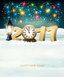 Happy New Year 2017 background with fireworks. Vector.