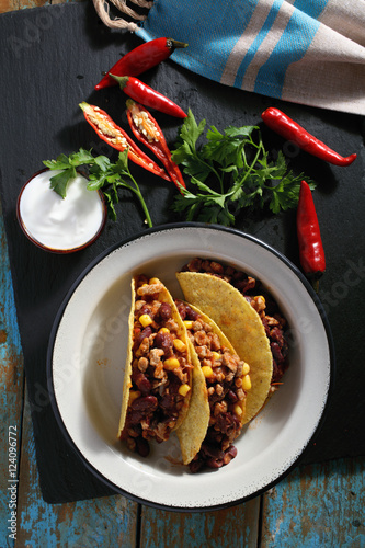 Plagát, Obraz Tacos with chili con carne