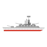 Warship icon. Flat illustration of warship vector icon for web design