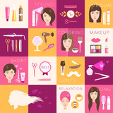 Hairdressing flat symbols vector set