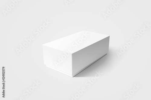 Plain white carton product box mockup, side view, clipping path Poster