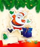 Christmas background with happy Santa, gift and copy space