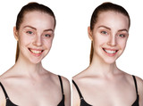 Portrait of young girl with and without makeup