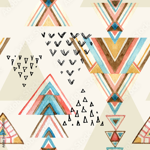 Abstract watercolor ethnic seamless pattern. - 124114312